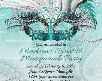 DIY Teal Masquerade Ball Invitation, Sweet 16 Party, Masquerade Invite, Silver
