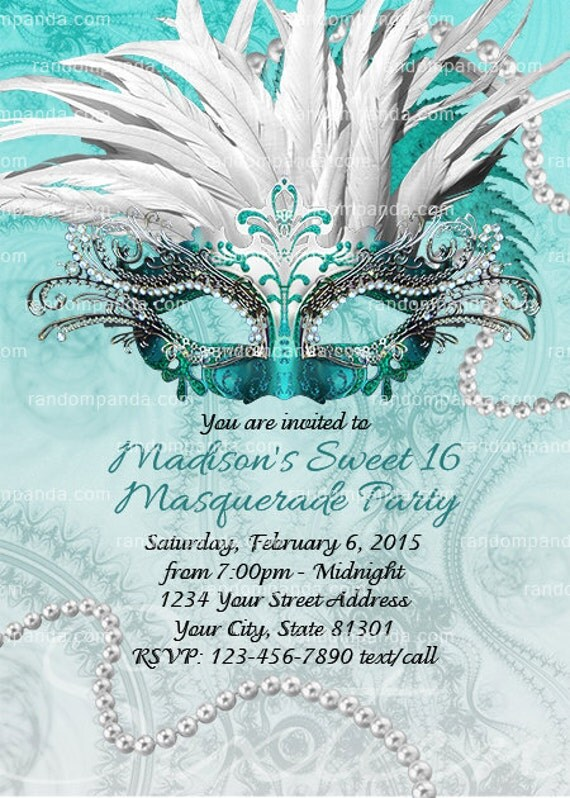 Teal Masquerade Ball Invitation Sweet 16 Party Quinceaera Invite