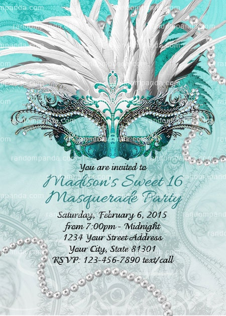 diy teal masquerade ball invitation sweet 16 party