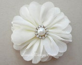 "Ivory Hair Flower - Ivory Flower Clip - Hair Clip or Brooch - 2"" EMILY FLOWER"