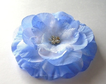 "ON SALE CLEARANCE Blue Hair Flower - Blue Flower Clip - 3"" Emma Flower - Hair Clip or Brooch - Rhinestone Flower - Hair Flowers"