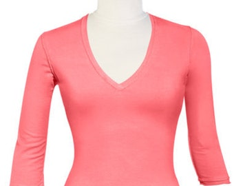 Ladies Top /Coral Pink Tee / V-Neck T Shirt / Women's Top / Cover up Top / 3/4 Sleeve Top / FREE Usa Ship / Beach Cover Up /Ladies T Shirt