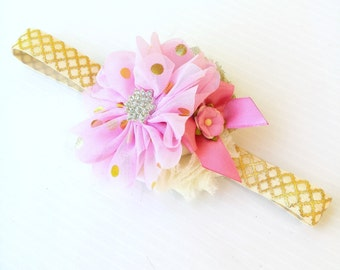 Pretty Pink Girls Flower Headband