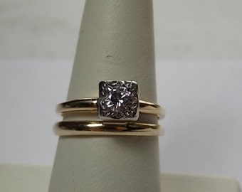 1940s Diamond Bridal Set .44Ctw Yellow Gold 14K 5.2gm Size 7 Classic Simplicity