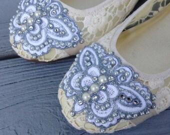 SALE - Buttercream Butterfly Lace Ballet Flat