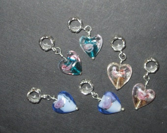 6 Pretty Lampwork Glass Heart Charms, 3 colors REDUCTION SALE