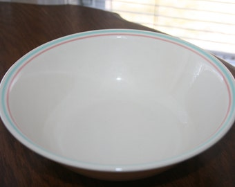 Vintage Corelle Corning Forever Yours Pattern Round Serving Bowl Pink Green Ivory Cream Beige