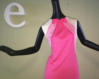 Vintage 60s Pink Rockabilly Mini Dress 1960s Mad Men MOD Hot Bubblegum Pink Bombshell Wiggle Shift Sheath Dress Sweet Bow Poly Knit Medium