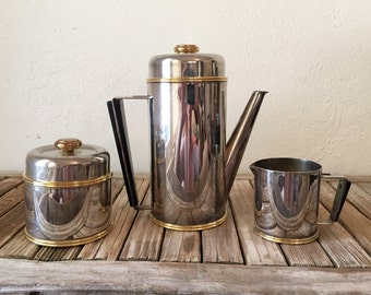 Art Deco Silver and Brass with Bakelite Tea Set