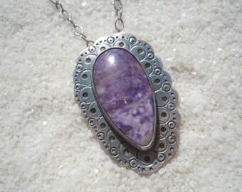 "Purple Stone Pendant, Tiffany Stone Jewelry, Silver Metalwork and Purple Stone, 18"" chain"