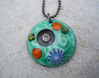 Barnacle Pendant Colorful Enamel Jewelry Enamel Necklace Artisan Jewelry