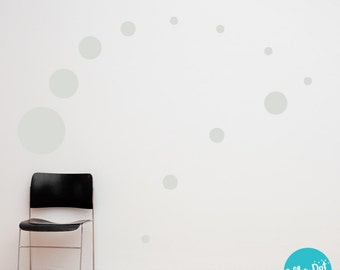 17 Dots - Assorted Size Peel and Stick Light Gray Polka Dot Wall Decals | 2 inch to 12 inch