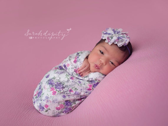Purple and Hot Pink Stretch Lace Swaddle Wrap AND/Or Flower Headband, newborn photo shoots, lace wrap by Lil Miss Sweet Pea