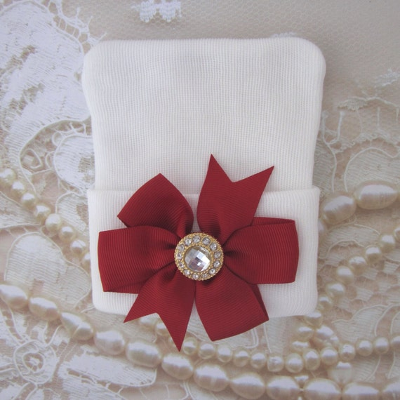 Christmas Newborn Hospital Hat, White with a Red Grosgrain Bow adorned with gold button, Xmas baby hat, Lil Miss Sweet Pea Boutique