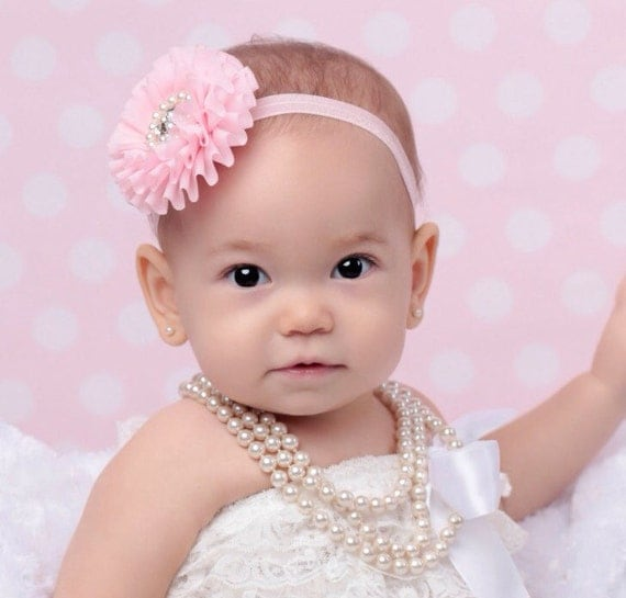 Pleated and Ruffled Chiffon 3 inch Flower with Pearls and Rhinestones sewn in the center, for birthday, photo shoots, newborns, toddlers