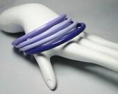 Plastic Bangle Bracelets - Vintage Bangles - Kitsch Mod Opaque Set of 4 -Shades of Purple - Vintage Bracelets