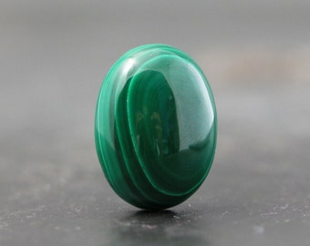 20mm Teardrop Oval, Malachite - Flat Back, Small Cabochon, Wire Wrap, Gold Silver Bronze Copper Jewelry Designs - Loose, Single Stone