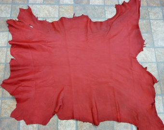"Leather 8.25 sq ft Red Cationic Goatskin Hide 29""x25"" 2.5 oz /1 mm PeggySueAlso #583"