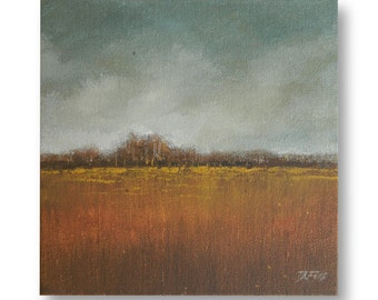 """Original art, impressionistic landscape painting 8""""X8"""" ready to hang. """"Fall"""""""