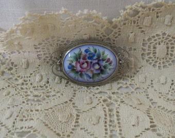 Vintage Enameled Brooch Flowers Floral Rostov Finift Violet