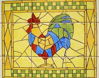 Mosaic Rooster Tile Mural Hand Painted Art Work, Artist Item #468019216