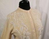 FLORAL FROST vintage beaded cardigan - Pringle Scotland cashmere sweater - embellished seed beads pearls sz S M