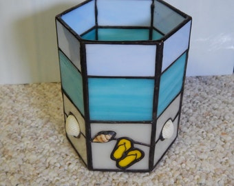 Stained Glass Beach Candle Holder, Ocean Candle Holder, Stained Glass Candle, Seashell and Glass Candle Holder, Ocean Decor, Beach Decor
