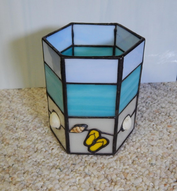 Stained Glass Beach Candle Holder Ocean Candle Holder