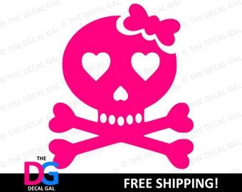 """Skull & Crossbones Vinyl Decal Sticker - FREE SHIPPING - 2"""" 3"""" 4"""" 5"""" 6"""" 7"""" 8"""" 9"""" 10"""" 11"""""""