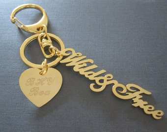 Personalized Gold Nameplate & Laser Engraved Name Heart Bag Charm