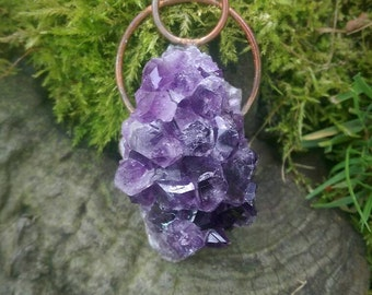 Raw Copper & Amethyst Cluster Pendant