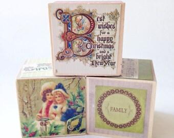 Christmas Home decor. Wood blocks. Wooden toy. Shelf Sitter. Holiday gift for teacher. Seasonal decoration. Stocking Stuffer.