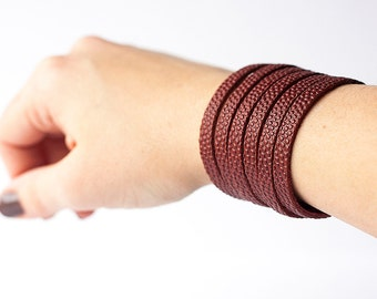 Leather Bracelet / Original Sliced Cuff / Football