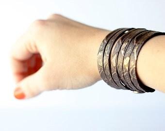 Leather Bracelet / Original Sliced Cuff / Snake Bite