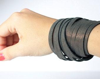 Leather Bracelet / Original Sliced Wrap Cuff / Stardust