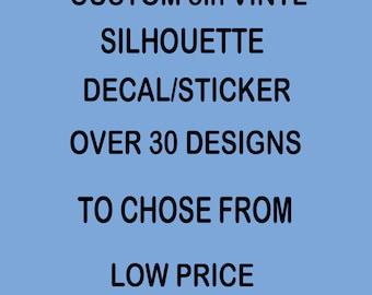 "Custom Silhouette Decal/Sticker Vinyl Your Choice 5"" Size   set 2"