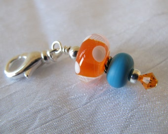 Orange and Turquoise Dotted Scissor Fob