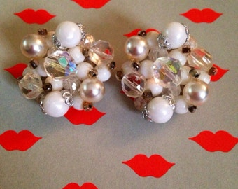White clip on cluster earrings, bridal earrings, vintage wedding