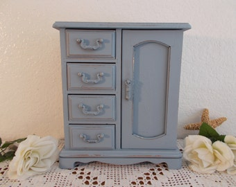 Blue Grey Jewelry Box Rustic Shabby Chic Distressed Organizer Beach Cottage Coastal Seaside French Country Home Decor Birthday Gift for Her