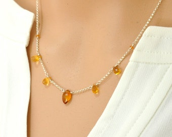 Citrine Silver Necklace, Orange stone Necklace, Yellow stone Jewelry, Citrine Necklace, November Birthstone Necklace, Gift For her
