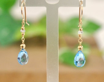 Aquamarine, Blue Topaz earrings, Blue Stone Earrings, Aquamarine earrings, Romantic Jewelry, March Birthstone, Made in Hawaii, Gift For Her