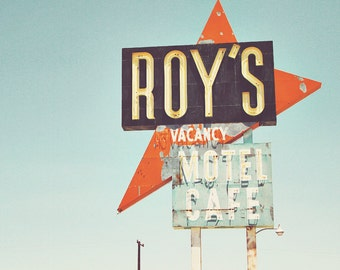 Roy's Motel & Cafe, Roy's Motel Print, Roy's Motel Art, Route 66 Print, Route 66 Art, Road Sign Art, Amboy California, Road Sign Print