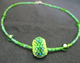 Green Beaded Bead Necklace