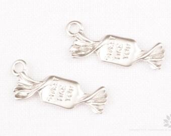 P783-MR// Matt Rhodium Plated Sweet Candy Pendant, 4 pcs