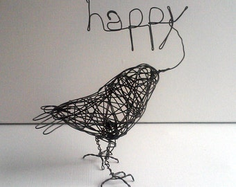 Original Handmade Wire Bird Sculpture - HAPPY BIRD