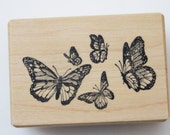 Monarch butterflies rubber stamp group of 5 butterflies Wood mounted Stampa Barbara 1986