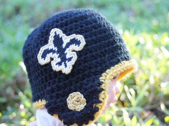 CUSTOM  Saints inspired football helmet Size for 0 to 12 months Crochet with two logos NOT made with felt