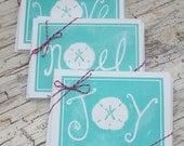 Turquoise Coastal Sand Dollar Christmas Cards Joy Love Noel Holiday cards