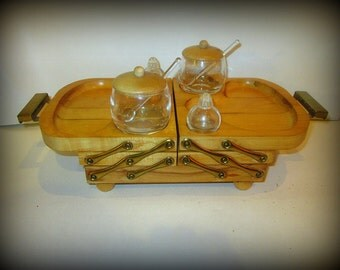 Vintage Karoff Buffet Wooden Server Tray Complete With Jars and Shakers Retro Party 1950s