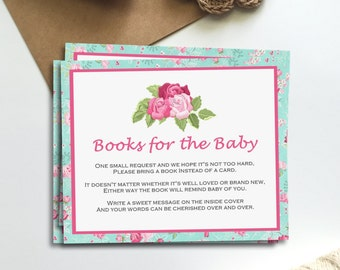 Shabby Floral Rose Pink and Blue Books for Baby Printable Insert INSTANT DOWNLOAD